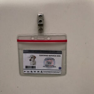 Customize Service Dog ID Card Badge ESA ADA EMOTIONAL SUPPORT THERAPY Zip Lock