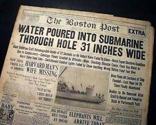 USS SQUALUS Sailfish United States Navy SUBMARINE Sinking 1939 Old Newspaper