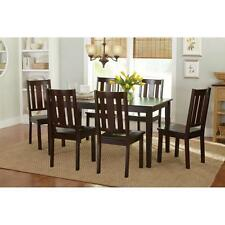 7 Piece Dining Set Wood Chairs and Espresso Table Mocha Seating Kitchen