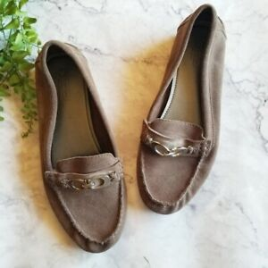 Coach Fortunata Gray Suede Leather Horsebit Driving Loafer Moccasin Flats 8.5