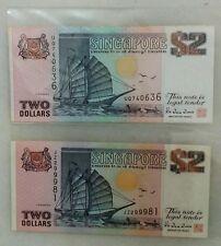 SINGAPORE $2 SHIP BANKNOTE (2 PCS)  - UQ740636 & JZ299981