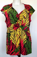Alfani Cap Sleeve Vibrant Tropical Leaf Draped Twist Front Top Blouse Shirt XL