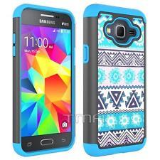 Samsung Galaxy J3 J3(6) Aztec Tribal Mayan Hybrid Impact Armor Hard Case - Blue
