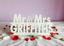 Personalised Mr and Mrs Sign Wedding Top Table Decoration Freestanding with Date