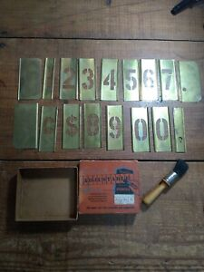 VINTAGE REESES ADJUSTABLE BRASS NUMBER STENCILS 2 INCH IN GOOD USED CONDITION