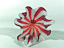 Murano FAZZOLETTO ° 60's Glas Taschentuchvase mit Zanfirico + Etikett ° (7)