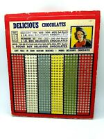 VINTAGE DELICIOUS CHOCOLATES PUNCH CARD GAMBLING 1 cent GAME NEW JUMBO #700 SALE
