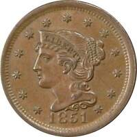 1851 1c Braided Hair Cent Penny US Coin AU/BU About Uncirculated / Uncirculated