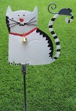 Garden Lawn Yard Decoration animal White Cat Sitting sheet metal pick stake NEW