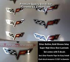 Corvette C6 Z06 Center Cap Decals, Silver Chrome, Set of 5, 2 1/16th Length 0003