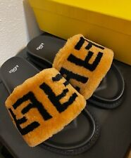 Fendi Black Slides Sandals Size Women US 9