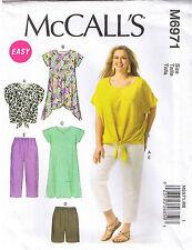 Easy Pullover Dress Tie Top Tunic Shorts Pants Sew Pattern Plus 18w 20w 22w 24w