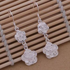 Beautiful Silver Twin Rose Flower Drop Earrings Alchemical Halloween Gift
