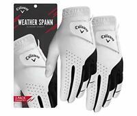 Callaway 2019 Men's Weather Spann Golf Glove (2 Pack), White, Medium/Large, Left