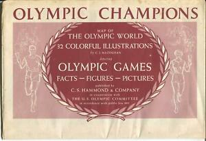 Olympic Champions Map Of The Olympic World 1956-huge color poster-VG/FN