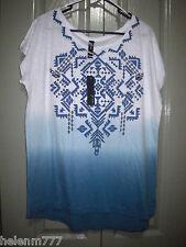 Women Light Cotton Long Tunic Top 12 20 Drape White Blue Geometric Print