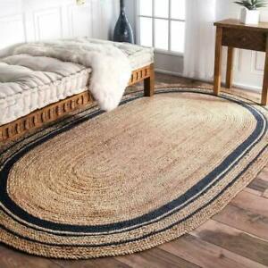 Vintage Oval Rug 100%natural jute Handmade Reversible living Area Carpet Rag Rug