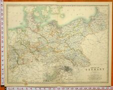 1899 LARGE ANTIQUE MAP NORTHERN EMPIRE OF GERMANY BERLIN ENVIRONS POSEN HANOVER