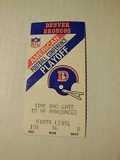 1987/88 AFC PLAYOFF GAME TICKET STUB Denver BRONCOS vs Houston OILERS 1-10-1988
