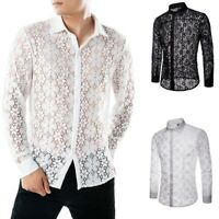 Men's Summer Autumn Casual Lace Shirts Long Sleeve T Shirt Hollow Tops Blouse