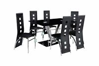 Black Glass Dining Table Set and 6 Leather Chairs Seats uk uk