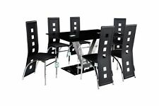 Black Glass Dining Table Set and 6 Leather Chairs Seats uk