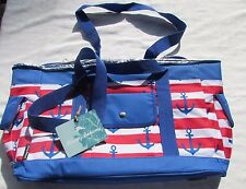 Nwt Tommy Bahama Red White Blue Anchor Beach Cooler Tote with Strap