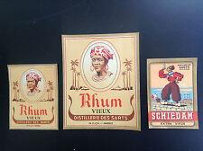 Lot de 3 anciennes étiquettes Distellerie des Sarts Schiedam Alcool Vieux Rhum