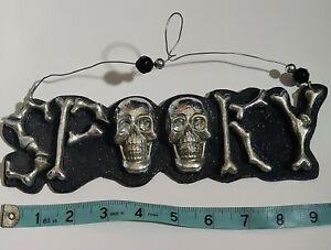 """SPOOKY Skulls Bone Letters 9.5"""" Wall Decor Metal On Black Wood Wire Hanger..."""