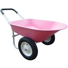Pink Wheelbarrow Cart Wagon Steel Garden Yard Lawn Utility Tool 2 Wheel Barrow