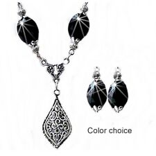 Charm Necklace Earrings Crystal Silver filigree choose color and clip on pierced