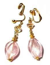 Pink Glass Crystal Clip-On Earrings Statement Drop Boho Prom Bridal statement