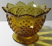 Vintage Fenton Amber Footed Scalloped Edge Hobnail Candy Dish Bowl Signed