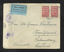 FINLAND DOUBLE CENSORED 1943  WORLD WAR 2 AIRMAIL COVER to DENMARK --SCARCE