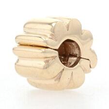 Pandora Ribbed Clip Charm - 14k Yellow Gold Bead Authentic Genuine 750118