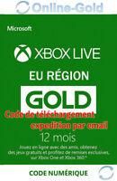 12 Mois Abonnement - Xbox Live Gold Code jeu à télécharger Xbox One 360 - FR
