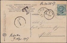 MALTA 1907 1d in circle due on postcard ex Italy............................8848