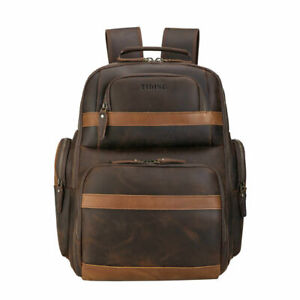 """Men Leather Retro Backpack Travel Bag School Bag 16"""" Laptop Bag Day Pack Satchel"""