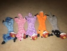 LOT 5 NEW Master Paws Stuffing Free Dog Toy 2 Squeakers KOALA SLOTH TIGER FOX
