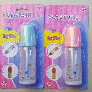 Dream Creations Magic Feed Bottle for your Dolls PINK BLUE