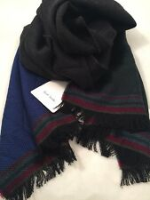 Paul Smith Men Scarf Plain Wool Made In Italy 100% Wool Blue/Green