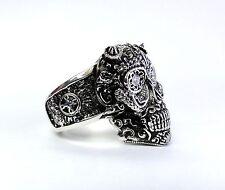 14 K White Gold Heavy Floral Skull Ring With Natural Diamonds By Sacred Angels