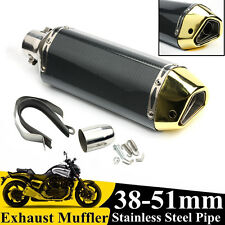38-51mm Motorcycle Carbon Fiber Exhaust Muffler Pipe Removable Silencer
