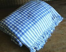 Vtg Hand Woven Rustic Joined 100% Cotton Houndstooth Blue White Fringed Blanket