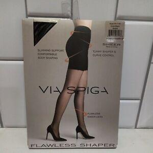 Via Spiga Flawless Sheer Shaper Tumny & Curve Control, Black Pantyhose Size B