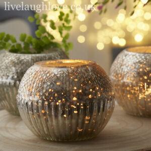 Antique Style Mercury Silver Glass Large Round Textured Tea Light Holder