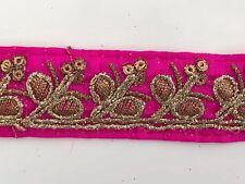 Bordado de hilo de oro antiguo indio atractivo Tela Rosa Floral Encaje - 1 Mtr