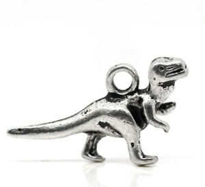 10 PCS ANTIQUE SILVER DINOSAUR CHARMS FOR GIFTS, CRAFTS ETC 22MM X 12MM (152)