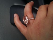 3Ct Oval-Cut Morganite Halo Solitaire Engagement Ring 14K Rose Gold FInish