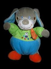 Doudou boule Chien gris bleu vert à pois chat Mots d'enfants 23cm foulard orange